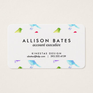 Rainbow watercolor birds painted colorful birdies business card