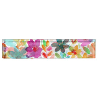 Rainbow Watercolor Bloom Clear Acrylic Nameplate