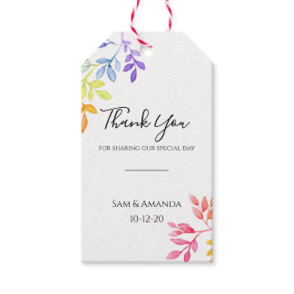 Rainbow Watercolor Botanical Leaves Wedding Gift Tags