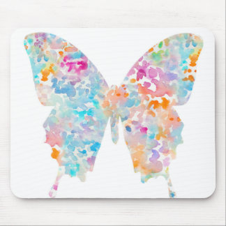 Rainbow Watercolor Butterfly Mouse Pad
