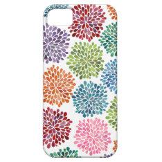 Rainbow Watercolor Dahlia Flowers Iphone 5 Case at Zazzle