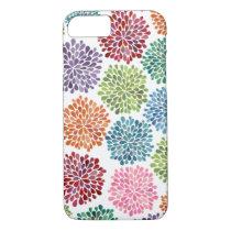 Rainbow Watercolor Dahlia Flowers iPhone 7 case
