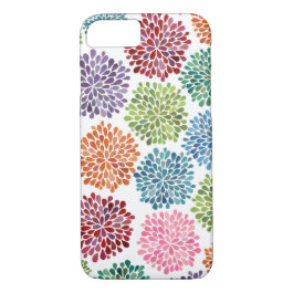 Rainbow Watercolor Dahlia Flowers iPhone 7 case