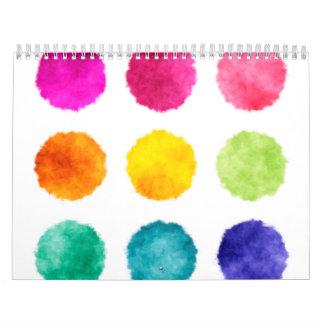 Rainbow watercolor dots calendar