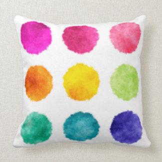 Rainbow watercolor dots throw pillows