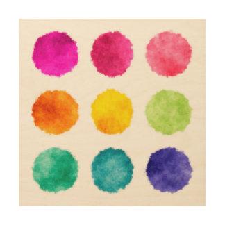 Rainbow watercolor dots wood wall art