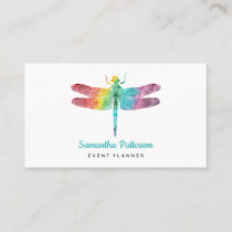 Rainbow Watercolor Dragonfly Modern Feminine Business Card
