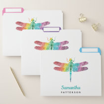 Rainbow Watercolor Dragonfly Personalized Feminine File Folder