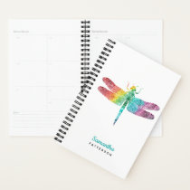 Rainbow Watercolor Dragonfly Personalized Feminine Planner