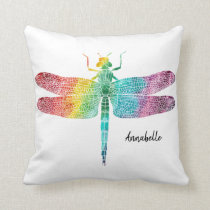 Rainbow Watercolor Dragonfly Personalized Pretty Throw Pillow