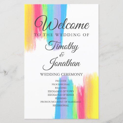 Rainbow Watercolor Elegant LGBT Wedding Program