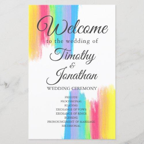 Rainbow Watercolor Elegant Summer Wedding Program