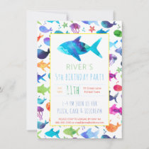 Rainbow Watercolor Fish Under The Sea Birthday