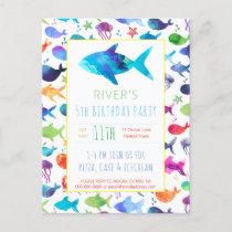 Rainbow Watercolor Fish Under The Sea Birthday Invitation Postcard