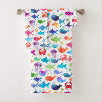 Rainbow Watercolor Fish Under The Sea Marine Bath Towel Set
