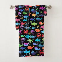 Rainbow Watercolor Fish Under The Sea Marine Black Bath Towel Set