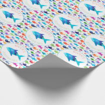 Rainbow Watercolor Fish Under The Sea Party Wrapping Paper