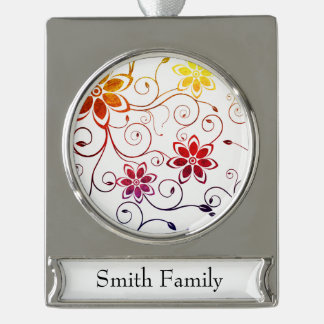 Rainbow Watercolor Flower Design Silver Plated Banner Ornament