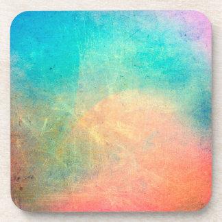 Rainbow Watercolor Grunge Colorful Rustic Beverage Coaster