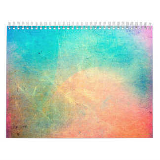 Rainbow Watercolor Grunge Colorful Rustic Calendar