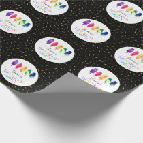 Rainbow Watercolor Ice Cream Cone Birthday Party Wrapping Paper
