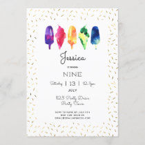 Rainbow Watercolor Ice Cream Ice Pop Stylish Gold Invitation