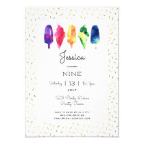 Rainbow Watercolor Ice Cream Ice Pop Stylish Gold Invitation