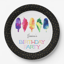 Rainbow Watercolor Ice Cream Ice Pops Modern Gold Paper Plate