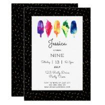 Rainbow Watercolor Ice Cream Ice Pops Stylish Gold Invitation