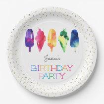 Rainbow Watercolor Ice Cream Ice Pops Stylish Gold Paper Plate