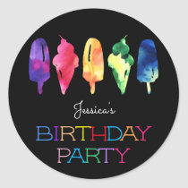 Rainbow Watercolor Ice Cream Popsicle Birthday Classic Round Sticker