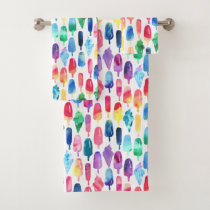 Rainbow Watercolor Ice Cream Popsicle Pattern Bath Towel Set