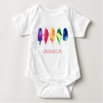 Rainbow Watercolor Ice Cream Popsicle Personalized Baby Bodysuit