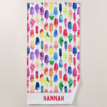 Rainbow Watercolor Ice Cream Popsicle Personalized Beach Towel