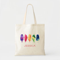 Rainbow Watercolor Ice Cream Popsicle Personalized Tote Bag