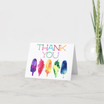 Rainbow Watercolor Ice Cream Popsicle Thank You