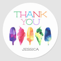 Rainbow Watercolor Ice Cream Popsicle Thank You Classic Round Sticker