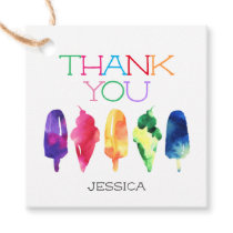 Rainbow Watercolor Ice Cream Popsicle Thank You Favor Tags