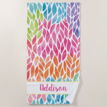 Rainbow Watercolor Leaves Pattern Personalized Beach Towel
