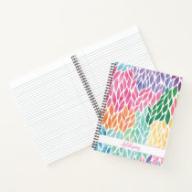 Rainbow Watercolor Leaves Pattern Pretty Feminine Notebook