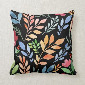 Rainbow Watercolor Leaves Throw Pillow
