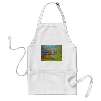 Rainbow Watercolor Painted Happy Frog Adult Apron