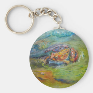Rainbow Watercolor Painted Happy Frog Keychain