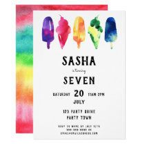 Rainbow Watercolor Popsicles Ice Cream Birthday Invitation