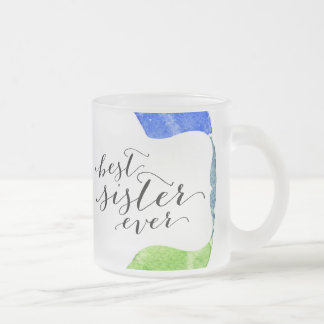 Rainbow watercolor ring modern colorful circle 10 oz frosted glass coffee mug