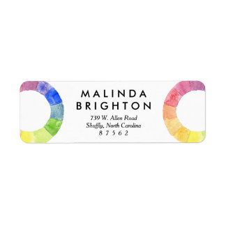 Rainbow watercolor ring modern colorful circle label