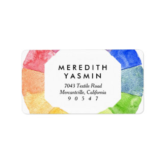 Rainbow watercolor ring modern colorful circle address label