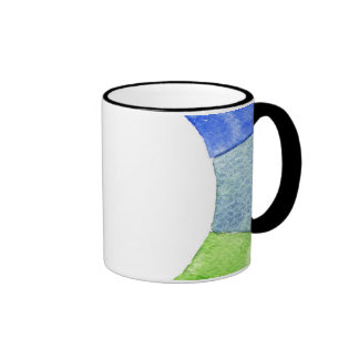 Rainbow watercolor ring modern colorful circle ringer coffee mug
