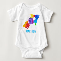 Rainbow Watercolor Rocket Outer Space Kids Baby Bodysuit