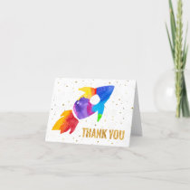 Rainbow Watercolor Rocket Outer Space Thank You
